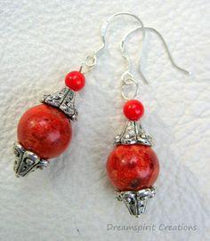 Boucles d'oreilles corail rouge et argent par DreamspiritCreations