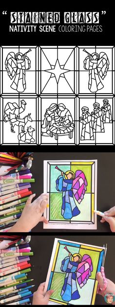 "Nativity scene ""stained glass"" coloring pages for teachers and parents to use with their students (children). These nativity scene coloring pages can be used as individual pages or can be combined to create a full nativity scene. Included are images for and #angel #star #wisemen #anaimals and #Mary, #Joseph and #babyJesus"
