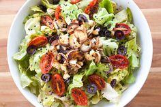 Sautéd Hearts of Palm, Grape Tomato, and Kalamata Olive Salad with Sun Dried Tomato Dressing