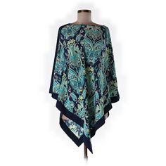 Pre-owned Completely Me by Liz Lange Poncho Size 8: Navy Blue Women's... (23 NZD) ❤ liked on Polyvore featuring tops, navy blue, navy top, poncho top, liz lange, poncho style tops and blue top