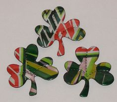 3 Shamrock Clovers Green Red Mtn Dew Cola Soda by SodaCanBuddies. Make into magnets, jewelry, napkin ring holders or a scarf ring