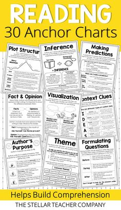 Reading Strategies Anchor Chart I love using these reading anchor charts in my grade classroom. Each anchor chart clearly explains and describes a reading comprehension skill and helps me plan my reading mini-lessons. I love that my students can glue t Reading Comprehension Skills, Reading Strategies, Reading Lessons, Reading Skills, Reading Focus Walls, 4th Grade Classroom, 4th Grade Ela, Third Grade, 5th Grade Reading