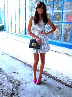 Summer dress with bright heels and cute bag  code name: drédin