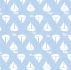 Dear Stella fabric SAILBOATS on Light Blue. (nautical nursery)