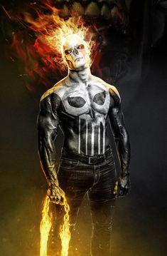 Ghost Rider/ Punisher - Kode-LGX-Punisher-Marvel Punishment - punisher x ghost rider concept . Punisher Marvel, Ms Marvel, Marvel Comics Art, Marvel Heroes, Daredevil, Marvel Avengers, Deadpool Wallpaper, Avengers Wallpaper, Rauch Tapete