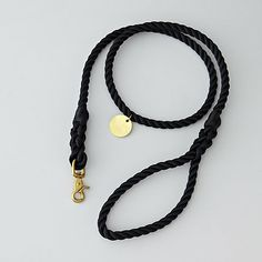 BLACK STANDARD LEASH BRASS - LARGE by found my animal for steven alan