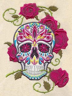 Colorful Sugar Skull with Roses embroidered bib by MorningTempest, $15.00