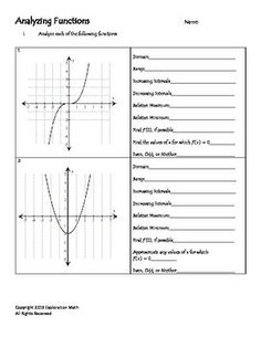 Domain and Range of Polynomials Functions EXCELLENT SHEET ...