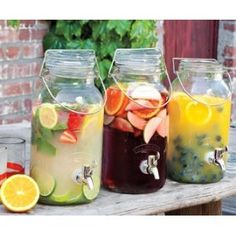 drink station, but with different containers and a bunch of different lemonades and teas, maybe sangria.