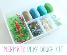 A mermaid play dough kit. Full of ocean-themed doughs and lovely loose parts for creative play! Play Doh Kits, Diy Play Doh, Play Dough, Playdough Activities, Craft Activities, Classroom Activities, Preschool Ideas, Family Activities, Toddler Activities