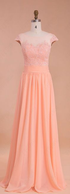 Modest peach color prom dress with cap sleeves formal dresses for wedding