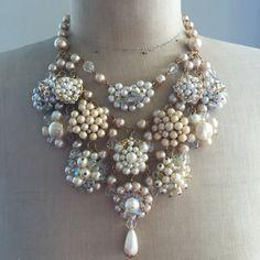 Vintage Wedding Necklace, Bridal, Pearl, rhinestone - Ivory
