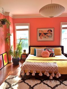 Pad Peek Living in Color with Stacey Blake of Design Addict Mom Jungalow by Justina Blakeney Room Ideas Bedroom, Home Decor Bedroom, Eclectic Bedroom Decor, Bright Bedroom Ideas, Eclectic Bedding, Bedroom Interiors, Bedroom Art, Aesthetic Room Decor, Pink Aesthetic