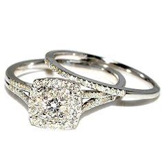 Wedding Set 0.5ct Diamond White Gold Engagement Ring and Matching Wedding Band