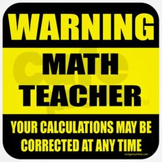 Warning math teacher sign Wall Clock