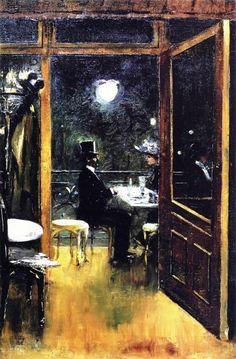 Lesser Ury - Café Bauer, 1906. Oil on canvas, 59 x 38 cm. Private Collection