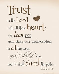 Trust in the Lord with all your heart      and lean not on your own understanding;   in all your ways submit to him,      and he will make your paths straight. ~Proverbs 3:5-6