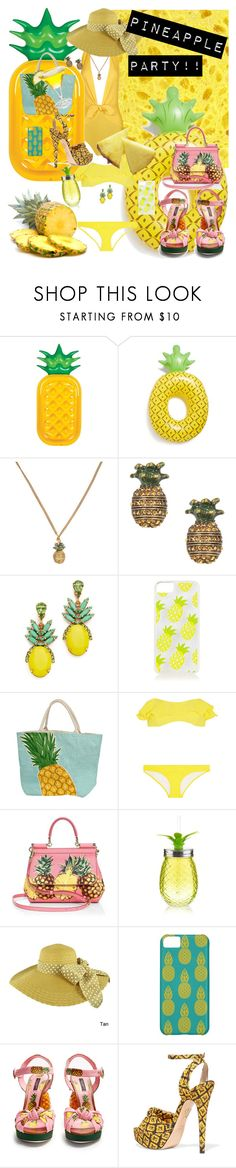 """""""pineapple party"""" by traceyenorton ❤ liked on Polyvore featuring ADRIANA DEGREAS, Sunnylife, BigMouth, Marc Jacobs, Elizabeth Cole, Topshop, Lisa Marie Fernandez, Dolce&Gabbana, Faddism and Charlotte Olympia"""