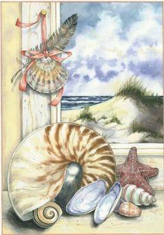 LAMINAS PARA DECOUPAGE 3 (pág. 175) | Aprender manualidades es facilisimo.com (Pretty Seashells).