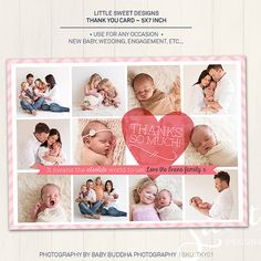 Newborn / Engagement / Wedding Thank You Card - Photoshop Template for photographers (TKY01) - INSTANT DOWNLOAD