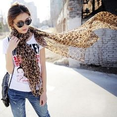 Leopard Print Brown Oversize Long Shawl Scarf FREE shipping worldwide only 7.99 usd