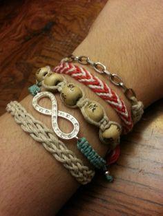 Macrame bracelets.