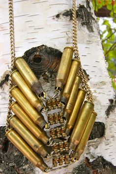 Upcycled tribal bullet casing necklace by thevintagevanity on Etsy, $155.00