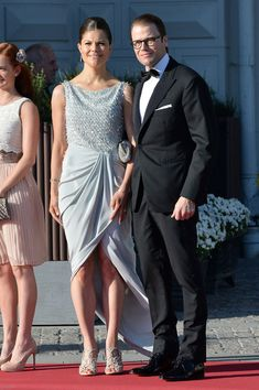 Crown Princess Victoria of Sweden and Prince Daniel of Sweden  arrive at a private dinner on the eve of the wedding of Princess Madeleine and Christopher O'Neill hosted by King Carl Gustaf and Queen Silvia at The Grand Hotel on June 7, 2013 in Stockholm, Sweden.