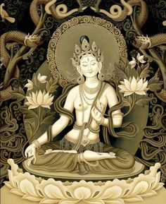 Beautiful rendering of this goddess. White Tara is the Deity of long life. Her love heals at the source of disease, bringing health, strength, longevity and beauty. Buddha Kunst, Buddha Art, Tibetan Art, Tibetan Buddhism, Tara Goddess, Thangka Painting, Sacred Feminine, Tantra, Gods And Goddesses
