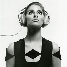 Jill Kennington by Ronald Traeger, 1960s. Amazing space age dress ... and headphones.