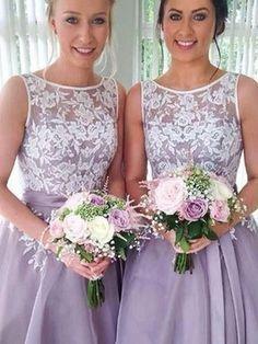 Bridesmaid Dresses Organza Blue Lilac Short Lace Bridesmaid Dresses #JKB012