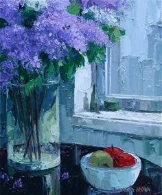 "Barbara McCann's.   Lilacs by the Window - Oil on Canvas 24"" X 20"" $6000"