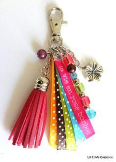 """Bijou de sac, porte-clés Grigri Lili et Ma Créations """"La Vie En Rose Bonbon"""" : Autres bijoux par lili-et-ma-creations"""