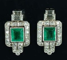 Art Deco Emerald & Diamond Earrings 1925
