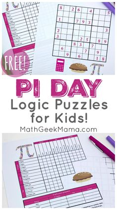 March is Pi Day! Use these FREE Pi Day logic puzzles alongside other resources to celebrate this cool day for mathematics Logic Math, Logic Puzzles, Grid Puzzles, Easy Math Games, Fun Math, Free Math Worksheets, Math Resources, Educational Activities For Kids, Holiday Activities