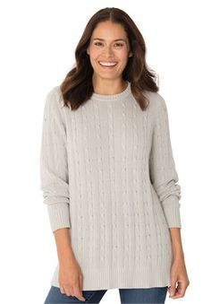 Woman Within® Crew neck cable pullover