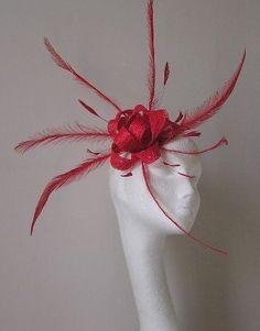 Red Wedding Fascinator hat
