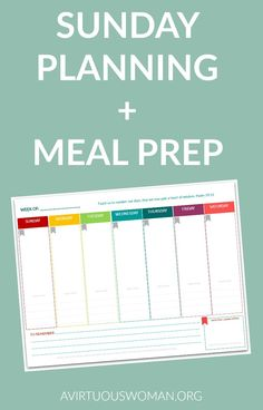 Sunday Planning and Meal Prep @ AVirtuousWoman.org