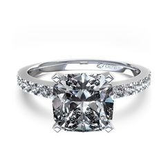 Cushion Cut Engagement Rings | Cushion Cut Diamond Engagement Ring in 14k White Gold