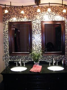 So glamorous! Bathroom backsplash - love the white sinks with black counter, the sparkle, and more ~