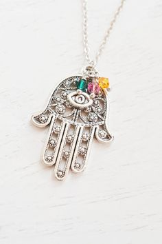 hamsa hand necklace,silver hamsa,protection charm,swarovski birthstone,hand of fatima,hand charm necklace,hamsa necklace,fatima hand,family birthstone necklace