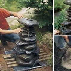 DIY Garden Fountain You could also add a little pool chlorine to help keep any bacteria from growing in the water. Diy Water Fountain, Rock Fountain, Garden Water Fountains, Stone Fountains, Water Gardens, Diy Garden Projects, Outdoor Projects, Diy Jardin, Backyard Water Feature
