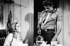 Liz Taylor and James Dean drinking tea