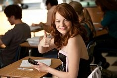 "Emma Stone in ""Easy A"" Emma Stone, Drew Barrymore, Jessica Chastain, Christina Hendricks, Celebrity Photos, Celebrity News, Back To School Movie, High School, Female Ghostbusters"
