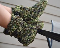 Crochet Slipper Boots/ Crochet Camo/ Camo by CreationsbyTone, $35.00 camo crochet slipper booties. can be worn by men as well as women just create a custom order for men!