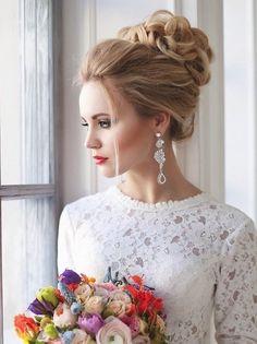 wedding top bun updo hairstyle for brides