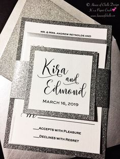 Silver Wedding Invitation, Silver Glitter Wedding Invitation with envelopes. This listing is for a non customized glitter wedding invitation perfect for an elegant or formal wedding, sweet quinceanera, or any formal celebration. Glitter Wedding Invitations, Quinceanera Invitations, Wedding Invitation Wording, Elegant Wedding Invitations, Bridal Shower Invitations, Birthday Invitations, Invitations Online, Invitation Set, Invitation Templates