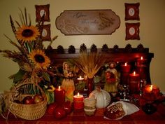 Beautiful Mabon Altar...oh the lighting is perfect here...very lovely.