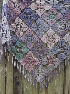 Knitted Shawl Knit Shawls Wool Handmade Gift For Her Colorfull Wraps Triangular Scarf OOAK Hand-knit Stained Glass Wrap Shoulder Wrappers Poncho Crochet, Crochet Art, Knit Or Crochet, Knitted Shawls, Crochet Motif, Hand Crochet, Hand Knitting, Crochet Granny, Crochet Patterns