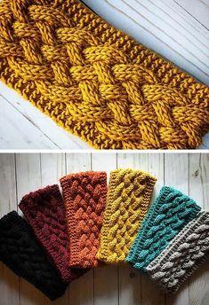 Easy Knitting Patterns, Loom Knitting, Free Knitting, Knitting Projects, Crochet Patterns, Bandeau Crochet, Knit Or Crochet, Crochet Crafts, Knit Headband Pattern